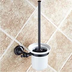 Toiletbørsteholder / Olieret bronzeMessing Keramik /Antik