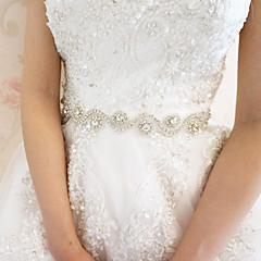 Satin Wedding / Party/ Evening Sash-Rhinestone Women's White 78 ¾in(200cm) Rhinestone