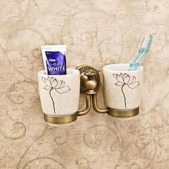 Tandbørsteholder / Antik messingMessing Keramik /Antik