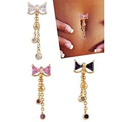 נשים תכשיטי גוף Navel & Bell Button Rings פלדת על חלד זירקון זירקוניה מעוקבת עיצוב מיוחד אופנתי תכשיטים לבן סגול ורוד תכשיטים יומי קזו'אל