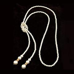 largo collar de estilo europeo perlas de imitación de alta calidad sencilla (más colores)