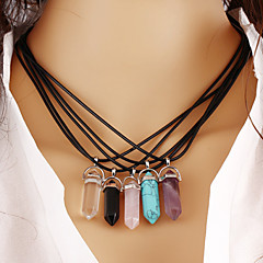 Women's Pendant Necklaces Turquoise Crystal Geometric Gemstone Crystal Gem Turquoise Alloy Geometric Vintage Costume Jewelry Fashion