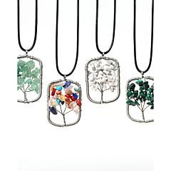 Beadia 1Pc Fashion 3.5x5cm Rectangle Shape Wisdom Tree Stone Pendant Necklace(45cm Length)