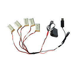 5pcs 3.7V 650mAh batteri med 1-5 usb lader kabeladapter deler til SYMA x5c x5 x5sc rc quadcopter