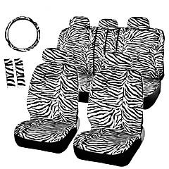 autoyouth curta zebra de pelúcia definido caber a maioria dos assentos de carro universais de direção capas de carro roda tampa do ombro