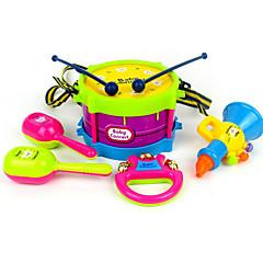 Zvonek houkačka ruční bubínek abs červená / modrá / žlutá / fialová hudební hračka