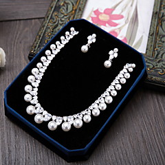 Jewelry 1 Necklace 1 Pair of Earrings AAA Cubic Zirconia Wedding Party Special Occasion Daily Casual Zircon 1set Silver Wedding Gifts