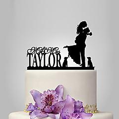 Kakepynt Personalisert Klassisk Par Akryl Bryllup Jubileum Utdrikkingslag Hage Tema Klassisk Tema OPP