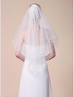 Véus de Noiva Duas Camadas Véu Cotovelo Véu para Cabelo Curto Borda Lápis 31,5 cm (80cm) Tule BrancoLinha-A, Vestido de Baile, Princesa,