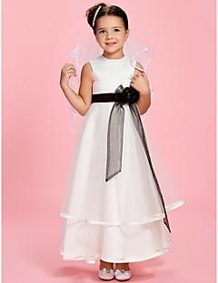 Uma linha de princesa tornozelo comprimento flor menina vestido - cetim tul sem mangas jóia pescoço com flor por lan ting bride®