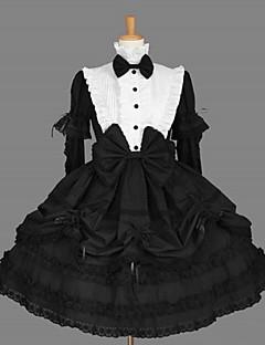 Yksiosainen/Mekot Klassinen ja Perinteinen Lolita Vintage-kokoelma Cosplay Lolita-mekot Musta Vintage Pitkähihainen KeskipitkäLeninki