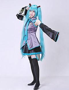 Inspirirana Vocaloid Hatsune Miku Video igra Cosplay nošnje Cosplay Suits Dresses Bez rukava Bluza Suknja Kravata Rukavi Pojas Stockings