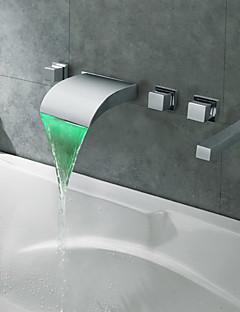 コンテンポラリー ローマンバスタブ 滝状吐水タイプ LED with  セラミックバルブ 五つ 3つのハンドル5つの穴 for  クロム , 浴槽用水栓