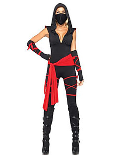 Cosplay Kostumer Festkostume Ninja Festival/Højtider Halloween Kostumer Sort/Rød Patchwork Top Bukser Handsker Bælte Maske Halloween