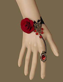 Sieraden Gothic Ring Geïnspireerd door vintage Rood Lolita-accessoires Armband Ring Kant Voor Geweven Stof Kunst Edelstenen