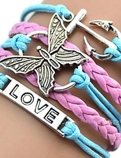 Dame ID Armbånd Læder Armbånd Wrap Armbånd Unikt design Kærlighed Hjerte Europæisk Inspirerende Indledende smykker flettet Mode Flerlags