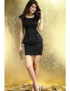 Women's Work Sheath Dress,Solid U Neck Above Knee Sleeveless White / Black Others Summer