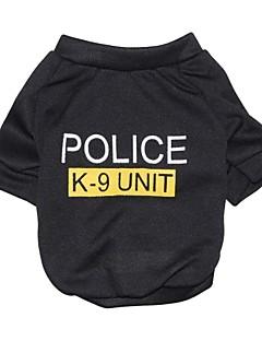 Kediler / Köpekler Tişört Siyah Köpek Giyimi Yaz Harf & Sayı / Polis/Ordu Moda