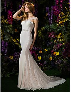 Havfrue / trompet scoop hals kapel tog georgette brudekjole med beading af lan ting bride®