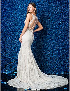 Sereia Ilusão Decote Cauda Capela Renda Vestido de casamento com Apliques Botão de LAN TING BRIDE®