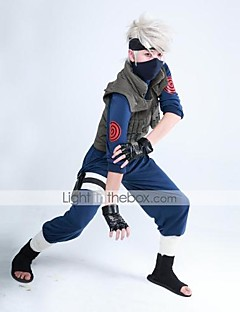Inspirirana Naruto Hatake Kakashi Anime Cosplay nošnje Cosplay Suits Kolaž Dugih rukavaMellény Top Hlače Rukavice Torba Mask Džep Traka