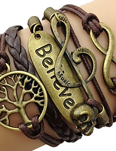Dame Wrap Armbånd Inspirerende flettet Vintage kostume smykker Læder Legering Kærlighed Uendelighed Livets træ Smykker Til Daglig