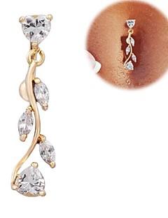 נשים תכשיטי גוף Navel & Bell Button Rings זירקון זירקוניה מעוקבת Heart Shape מוזהב תכשיטים יומי קזו'אל Christmas Gifts