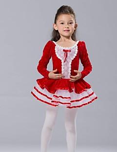 Roupas de Dança para Crianças Blusas Vestidos e Saias Tutus Crianças Chiffon Elastano Tule Veludo Manga Comprida