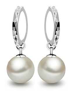 Damen Tropfen-Ohrringe Kreolen Elegant Brautkleidung Modeschmuck Perle Sterling Silber Kugel Schmuck Für Hochzeit Party Alltag Normal