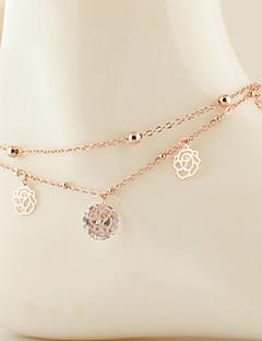 נשים תכשיט לקרסול/צמידים זירקון זירקוניה מעוקבת סגסוגת עיצוב מיוחד אופנתי שכבה כפולה תכשיטים Flower Shape תכשיטים ורד תכשיטים עבור Party