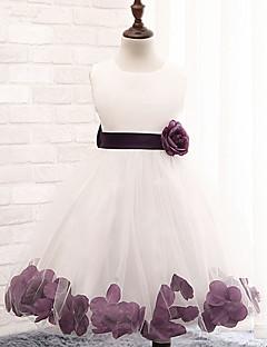 α-γραμμή γόνατο κορίτσι μήκος φόρεμα κορίτσι - βαμβάκι πολυεστέρα δαντέλα τούλι αμάνικο λαιμό κόσμημα με λουλούδι από ydn