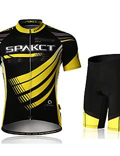 SPAKCT 싸이클 반바지 져지 남성용 짧은 소매 자전거 패드 반바지 져지 반바지 의류 세트 빠른 드라이 자외선 방지 수분 투과율 통기성 3D 패드 편안함 스팬덱스 폴리에스터 폴리아마이드 Randig 봄 여름 사이클링/자전거