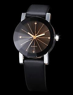 גברים לנשים לזוג שעוני שמלה שעוני אופנה שעון יד קווארץ חיקוי יהלום אבן נוצצת PU להקה שחור שחור