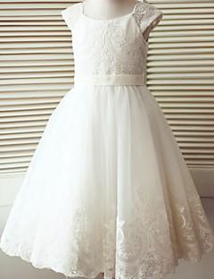 α-γραμμή τσάι λουλούδι φόρεμα κορίτσι μήκος - τούλι κοντό μανίκια λαιμό σέσουλα με κουμπιά από thstylee