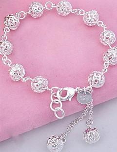 Mulheres Pulseiras com Pendentes Bracelete Pulseiras Strand Moda bijuterias Prata de Lei Cristal Bola Jóias Para Festa Diário Esportes