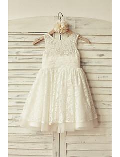 α-γραμμή γόνατο κορίτσι φόρεμα λουλουδιών - δαντέλα τούλι αμάνικο λαιμό σέσουλα με δαντέλα από thstylee