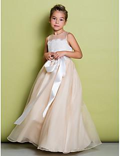 A-line lattia pituus kukka tyttö mekko - pitsi organza hihaton jalokivi kaulana lan ting bride®