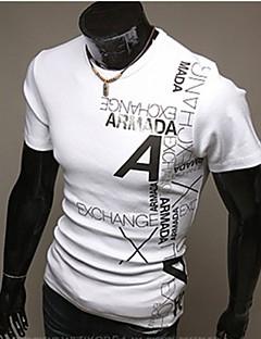 Bomull Polyester Kortermet T-skjorte Ensfarget Trykt mønster Fritid/hverdag Arbeid Formelle Sport Plusstørrelser Herre