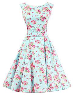 婦人向け ラウンドネック フラワー ドレス , コットン 膝丈 ノースリーブ