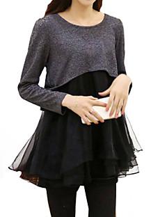 Sukienka - Obuwie damskie - Warstwy materiały / Siateczka - Przed kolano - Długi rękaw - Okrągły dekolt