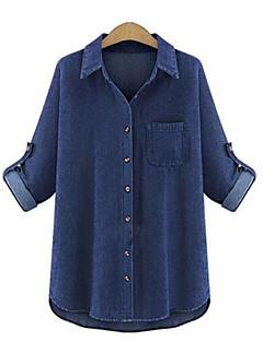 Bomull Blå Medium Langermet,Skjortekrage Ensfarget Alle sesonger Ferie Dame