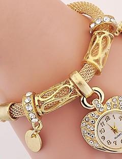בגדי ריקוד נשים ילדים שעוני אופנה שעון יד שעון צמיד קווארץ אבן נוצצת חיקוי יהלום סגסוגת להקהוינטאג' Heart Shape בוהמי מזל צמיד יום יומי