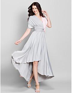 גזרת A צווארון וי א-סימטרי ג'רסי שמלה לשושבינה  עם בד בהצלבה על ידי LAN TING BRIDE®