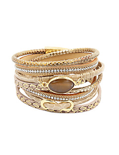 Dame Wrap Armbånd luksus smykker Flerlags Håndlavet Personaliseret kostume smykker Læder Rhinsten Simuleret diamant Legering Cirkelformet