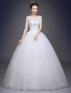 Ball Gown Scoop Neck Floor Length Satin Tulle Wedding Dress with Appliques by JUEXIU Bridal