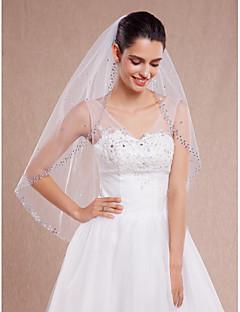 Véus de Noiva Uma Camada Véu Ponta dos Dedos Corte da borda Borda Enfeitada Tule Branco Marfim