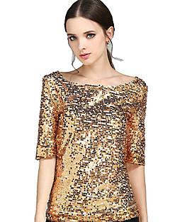 Tee-shirt Femme,Couleur Pleine Sortie Grandes Tailles simple Chic de Rue Eté Col Arrondi Polyester Moyen