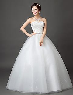 נשף לב (סוויטהארט) עד הריצפה תחרה סאטן טול שמלת חתונה עם תחרה על ידי JUEXIU Bridal