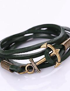 Dame Wrap Armbånd Mode Flerlags Boheme Stil Personaliseret kostume smykker Læder Nylon Legering Geometrisk form Anker Smykker Til Fest