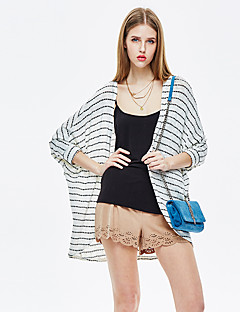 HEARTSOUL Women's Going out Simple Summer Kimono Jacket,Striped Round Neck ¾ Sleeve Regular Rayon Polyester Spandex